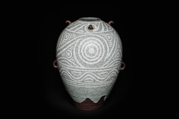 纹片彩陶罐